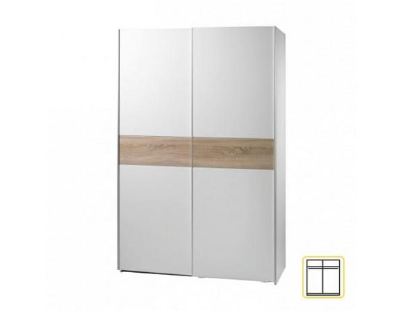 Dvoudveřová skříň, s posuvnými dveřmi, dub sonoma / bílá, VICTOR 23 ...