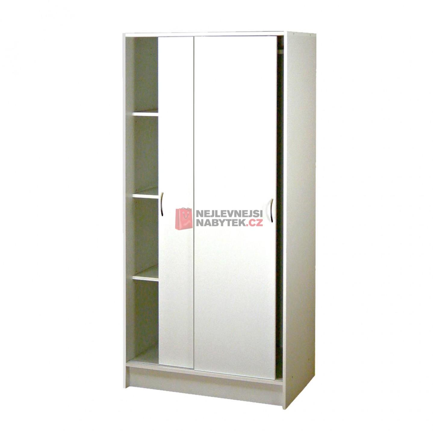 Skříň s posuvnými dveřmi 23, bílá | NEJLEVNEJSINABYTEK.CZ