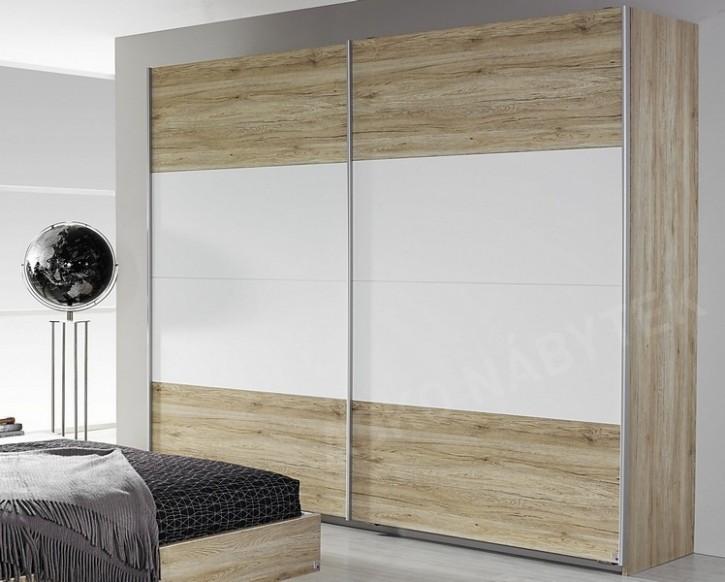 Šatní skříň s posuvnými dveřmi Bustas, 23 cm, dub san remo/bílá ...