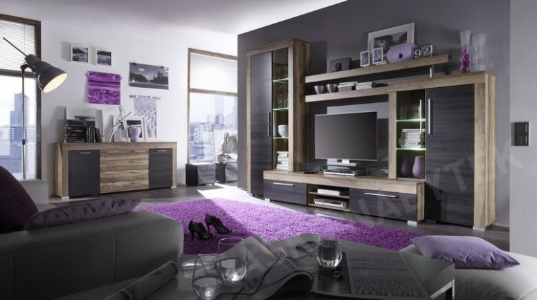 Obývací stěna Boom, saténový ořech/hnědá, s osvětlením | ASKO - NÁBYTEK