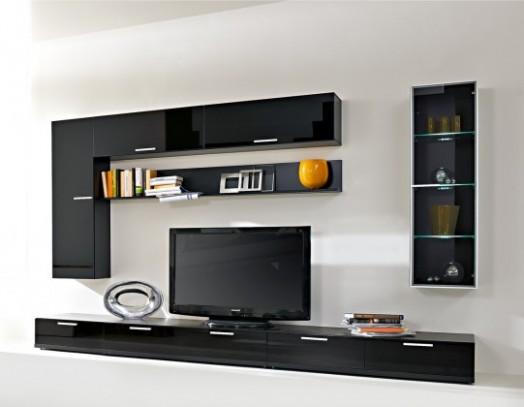 Game - Obývací stěna (černá/černá sklo GS) | Jena nábytek