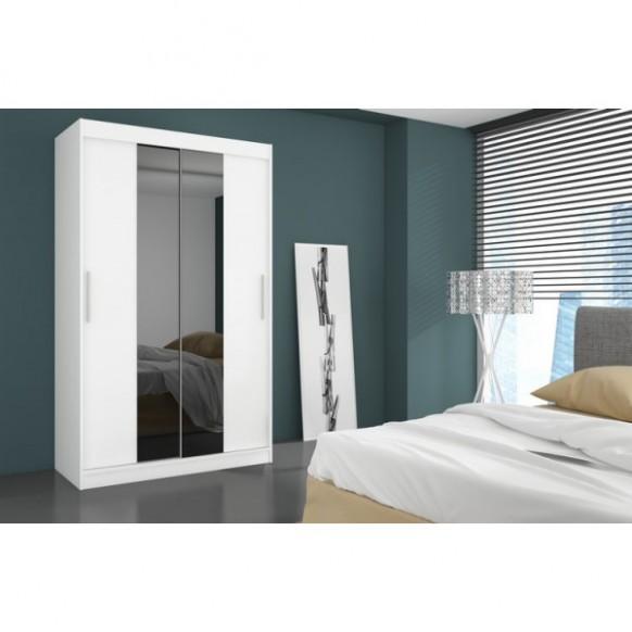 Šatní skříň Fabrizio bílá levné Zrcadlové šatní skříně z lamina