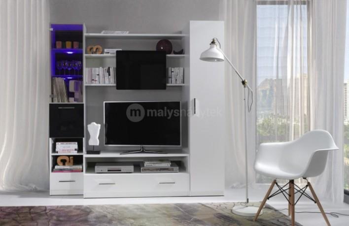Moderní obývací stěny : Bílá obývací stěna s LED osvětlením PRESTO 20