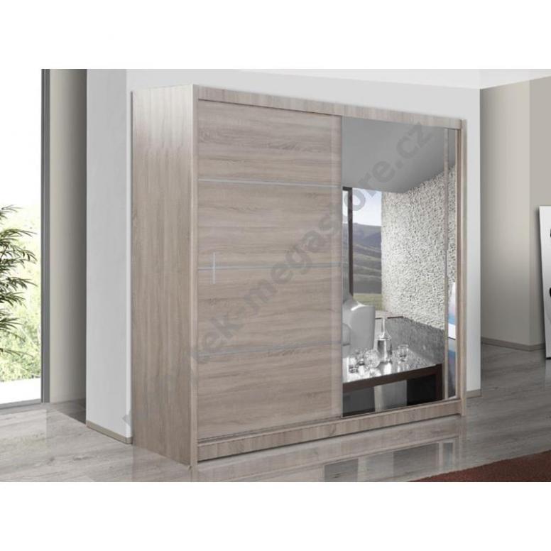Šatní skříň s posuvnými dveřmi WISTA 23, dub sonoma