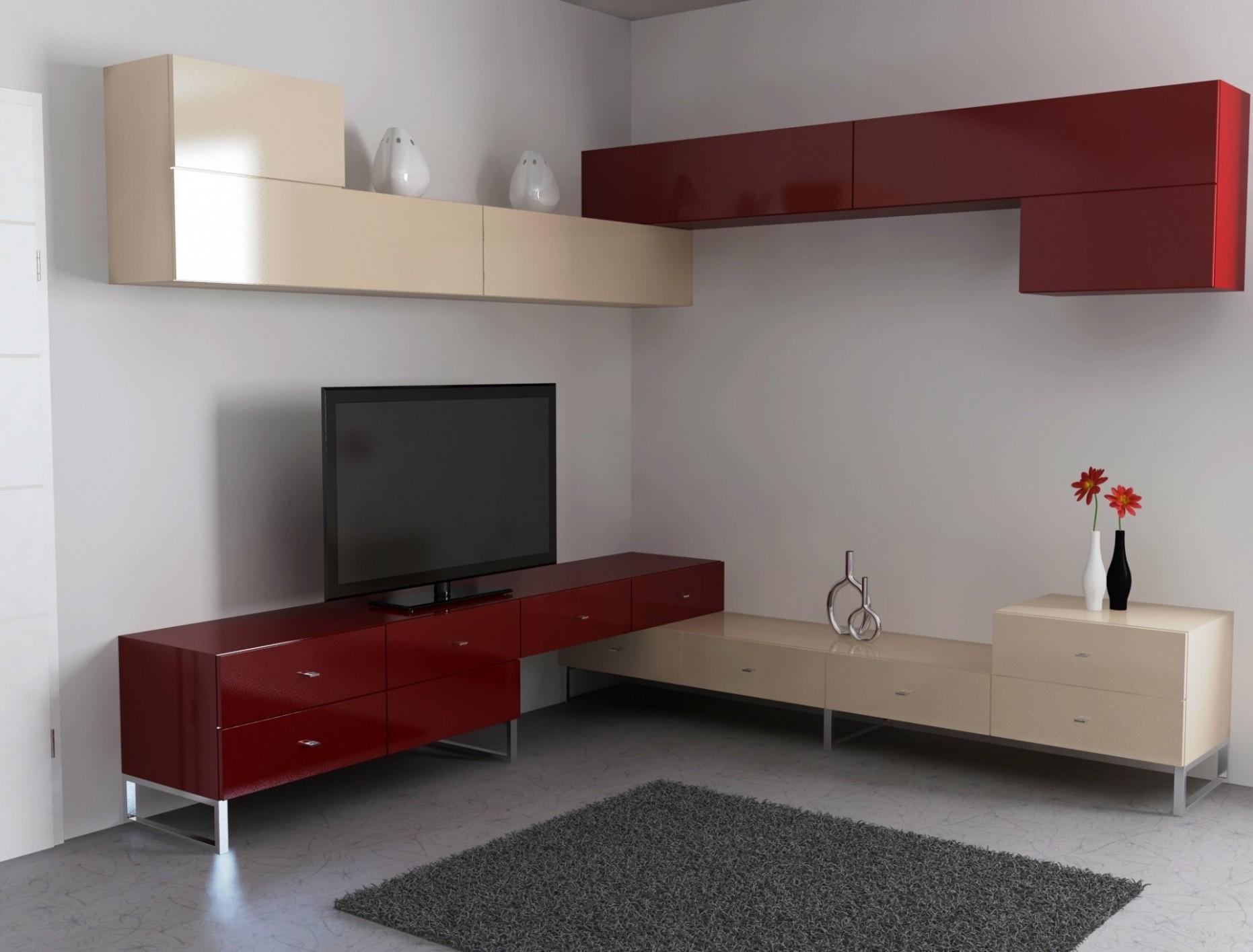 Moderní rohová obývací stěna