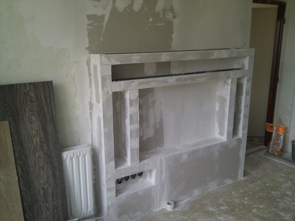 Mini obývací stěna ze sádrokartonu