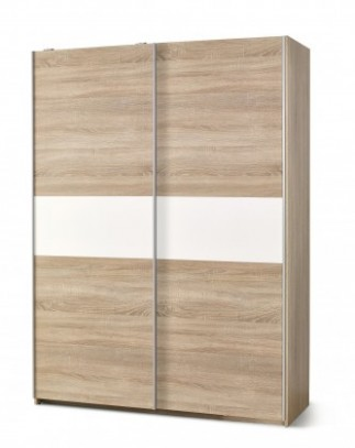 Šatní skříň Lima - s posuvnými dveřmi (dub sonoma/bílá) | Jena nábytek
