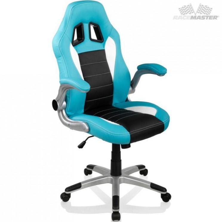 OEM M22 Otočná kancelářská židle GT-Racer - sv. modrá/černá/bílá ...