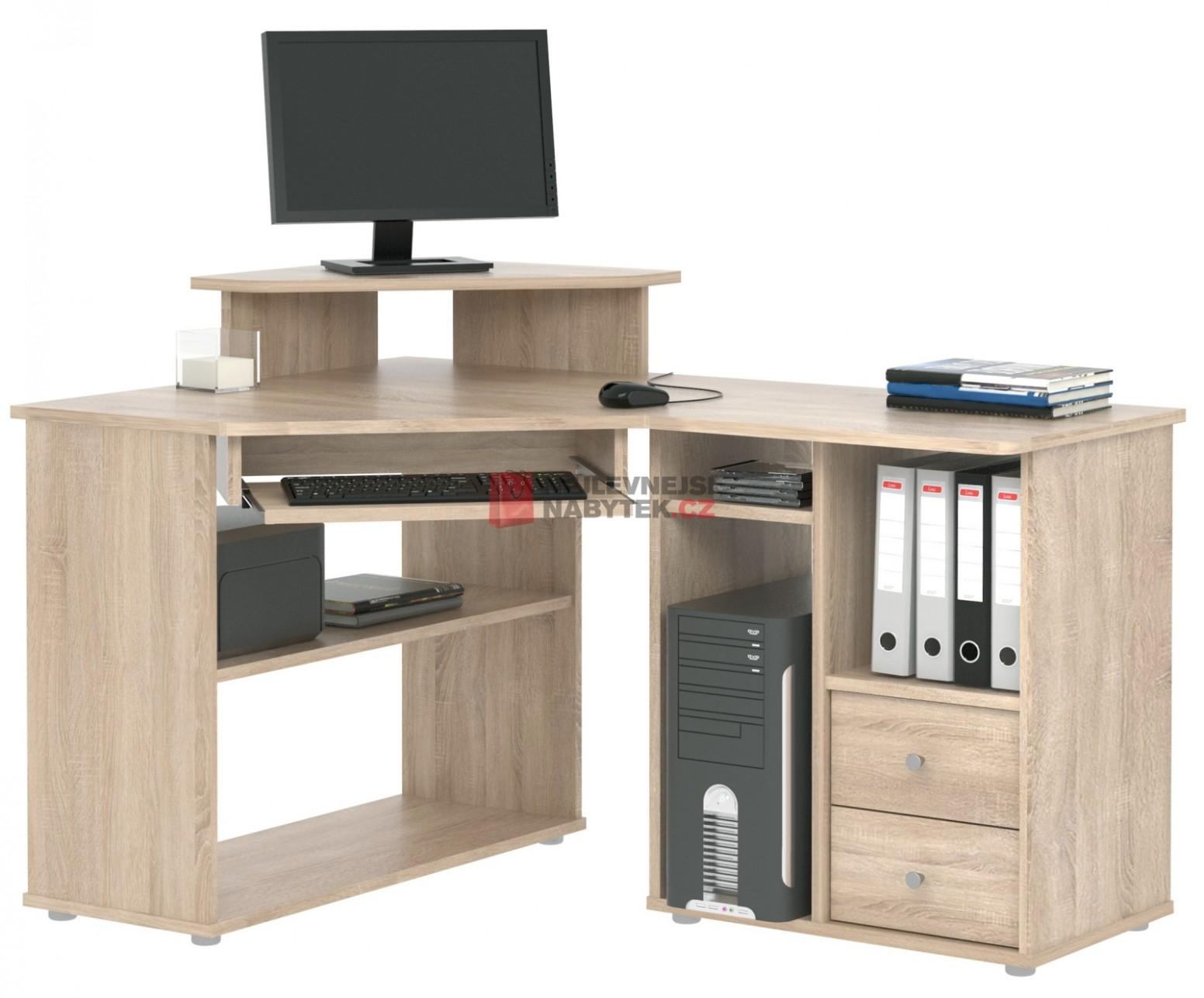 Rohový PC stůl TCHEODOR, dub sonoma | NEJLEVNEJSINABYTEK.CZ