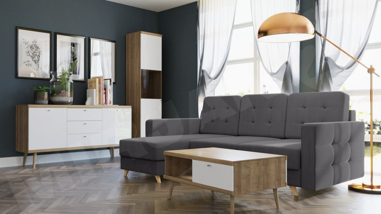 Obývací stěna Prime VI + Rohová sedací souprava Maline - MIRJAN18