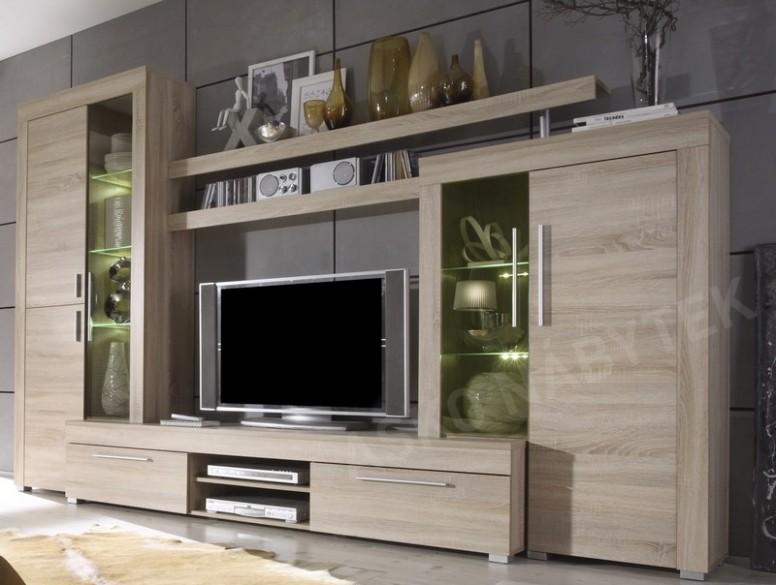 Obývací stěna Boom, dub sonoma, s osvětlením | ASKO - NÁBYTEK
