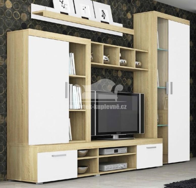 Obývací stěna Tom - sonoma/bílá | Levný nábytek a sedací soupravy ...