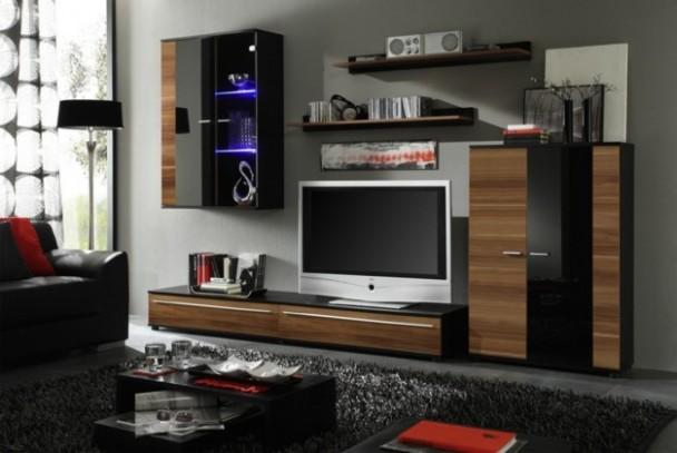 Cannes - obývací stěna (černá/švestka/černá)   Jena nábytek