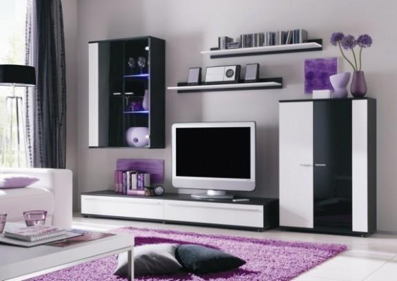 Cannes - obývací stěna (černá/bílá/černá) | Jena nábytek