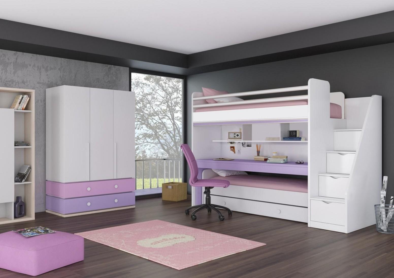 Patrová postel pro dvě děti Oxford - Pink - Patrová postel - pouze ...