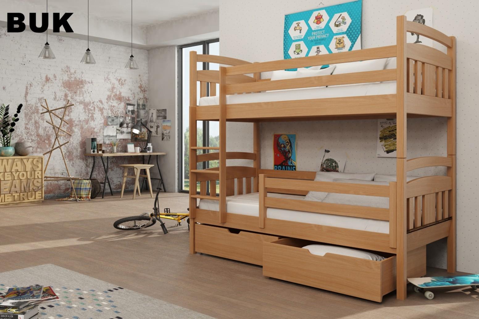 Patrové postele | Dětská patrová postel HUGO 11x11 cm s úložným ...