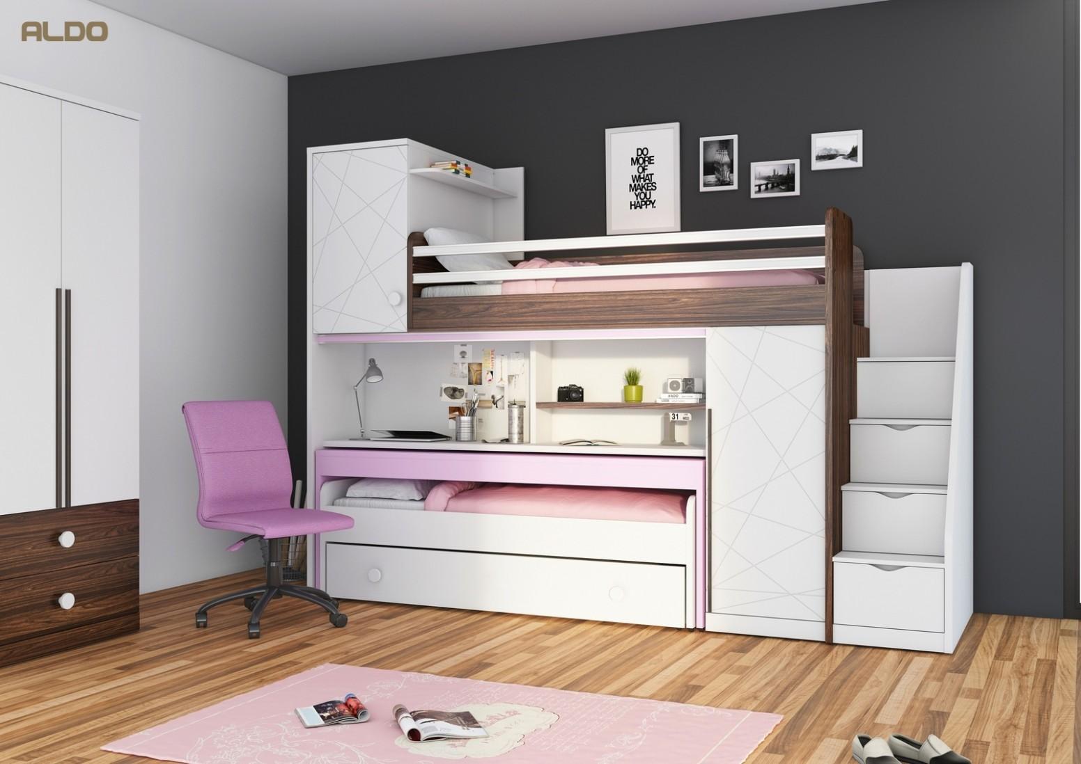 Patrová postel s psacím stolem pro holky New Tower-pink | Nábytek Aldo
