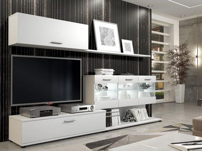 Skvělá moderní obývací stěna Rubi, Bílá - ORFA Nábytek