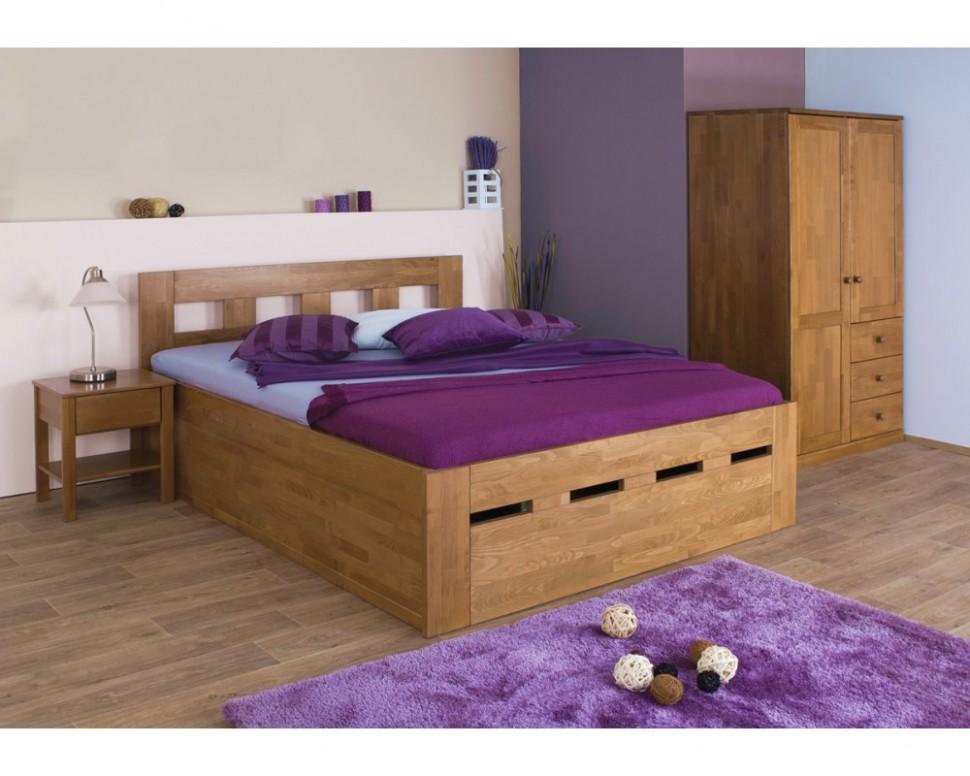 Zvýšená postel dvoulůžko s úložným prostorem MERIDA senior, masiv ...
