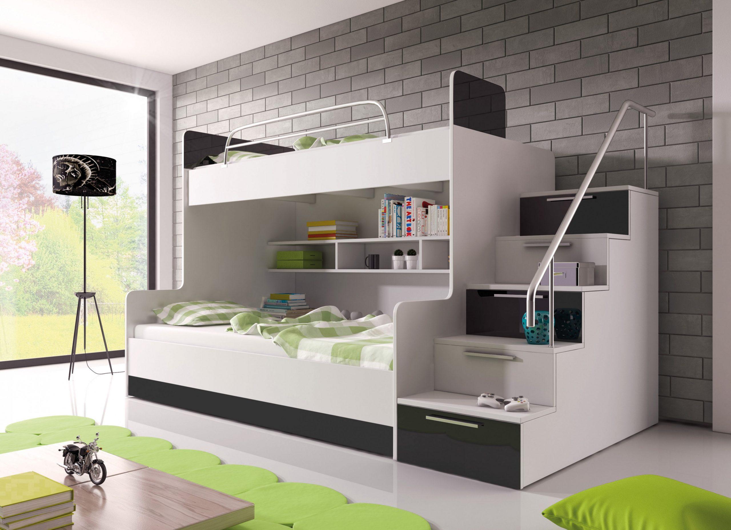 Patrová postel Ruby II (bílá + černá) (s matrací a roštem ...