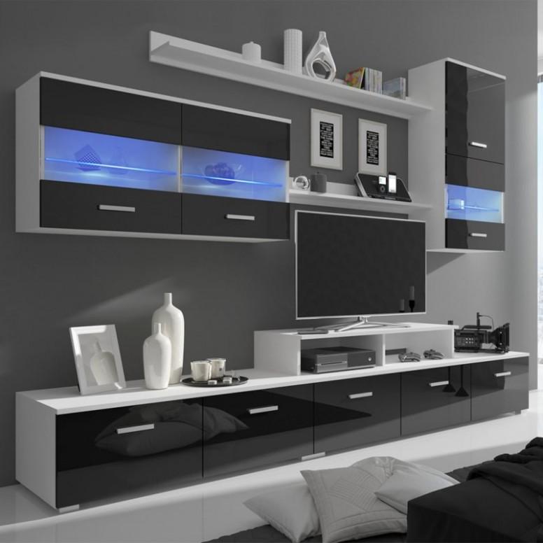 Sedmidílná obývací stěna s LED 19 cm vysoký lesk černá | FAVI.cz