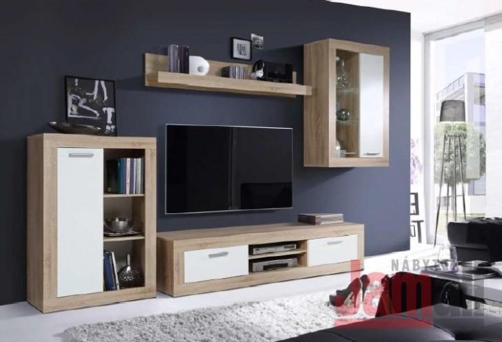 Obývací stěna dub sonoma/bílá LUND LDXM15