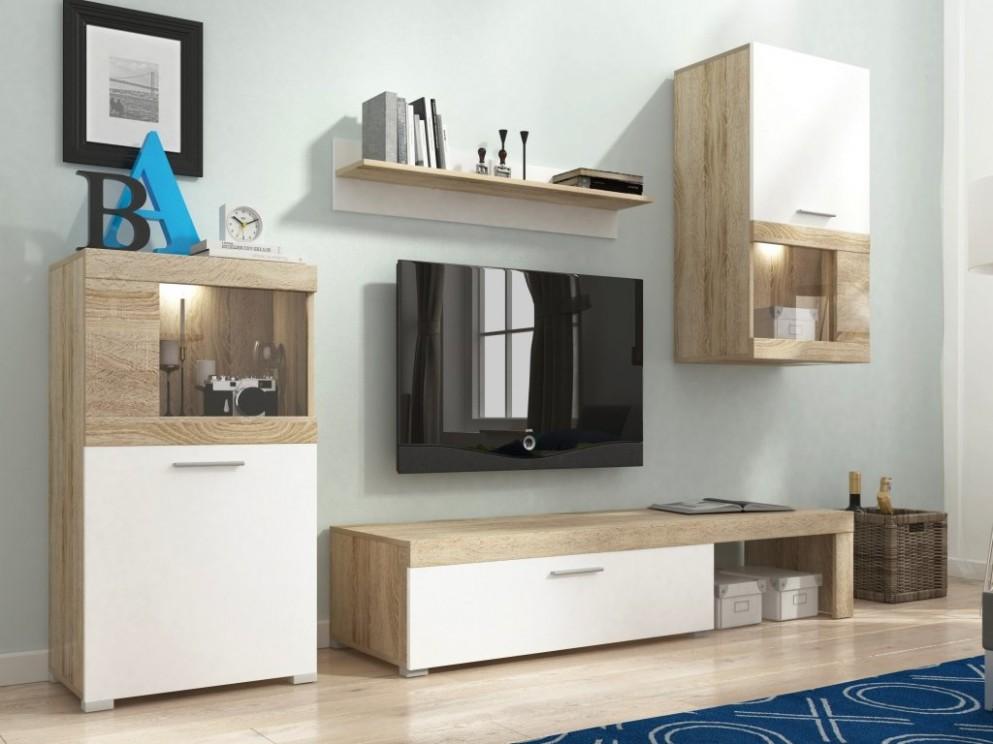 Obývací stěna - FOLK, dub sonoma/bílá - nábytek MAXIVA