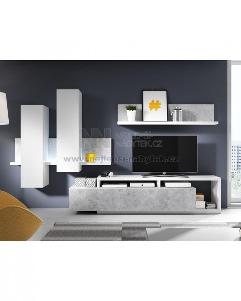 Moderní obývací stěna BOTA bílá/beton Colorado : Nejlepsi-nabytek.cz