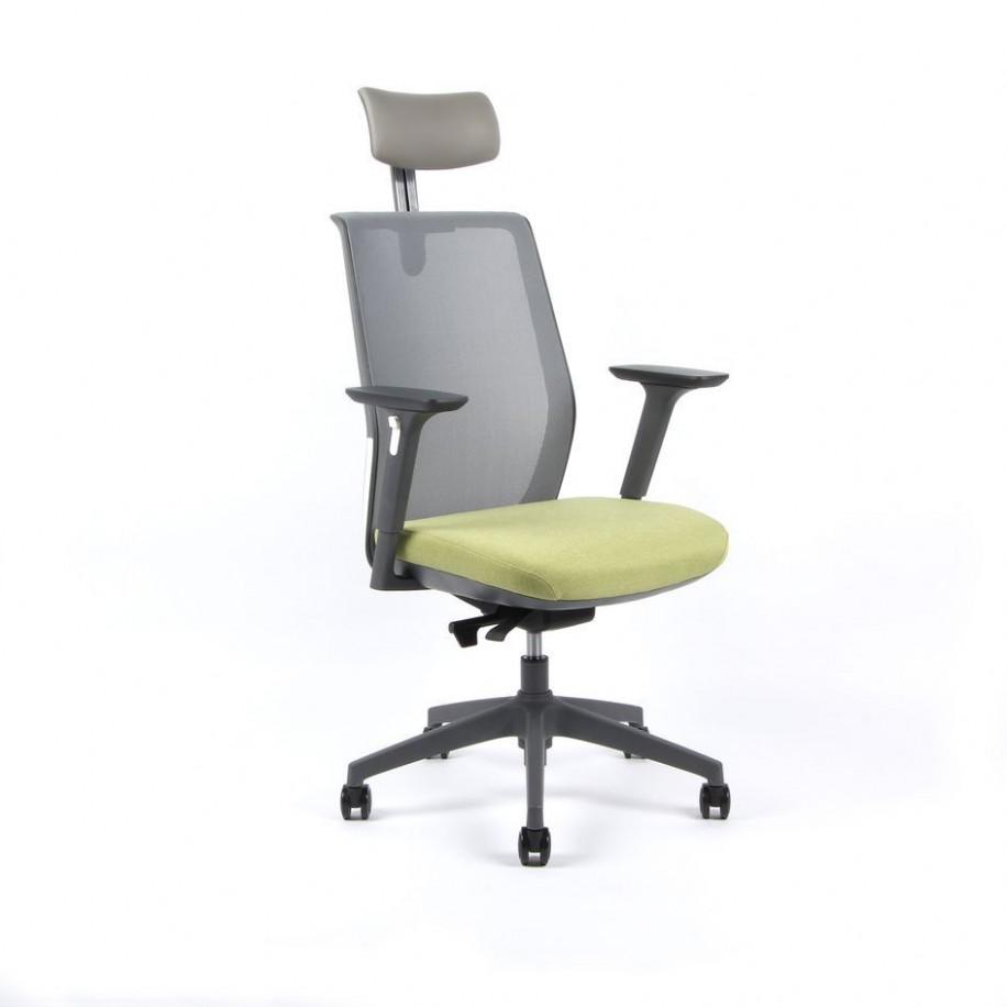 Kancelářská židle s podhlavníkem a područkami, zelená - PORTIA