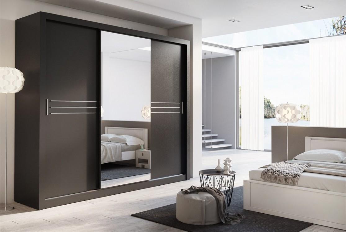 Šatní skříň IDEA 67 67 zrcadlo černá | ATAN nábytek