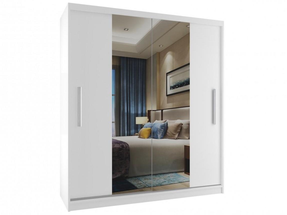 Šatní skříň bílá s posuvnými dveřmi a zrcadlem 67 cm | DONA-SHOP