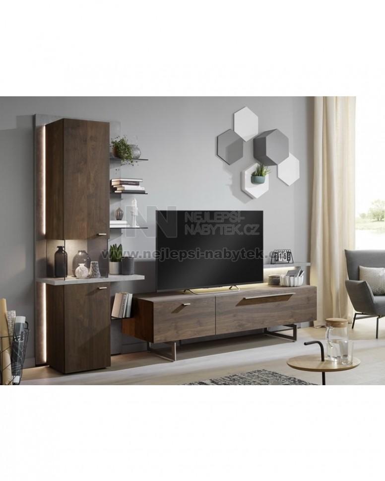 Obývací stěna LAREDO dub přírodní tmavý/dekor betonu - Pravá ...