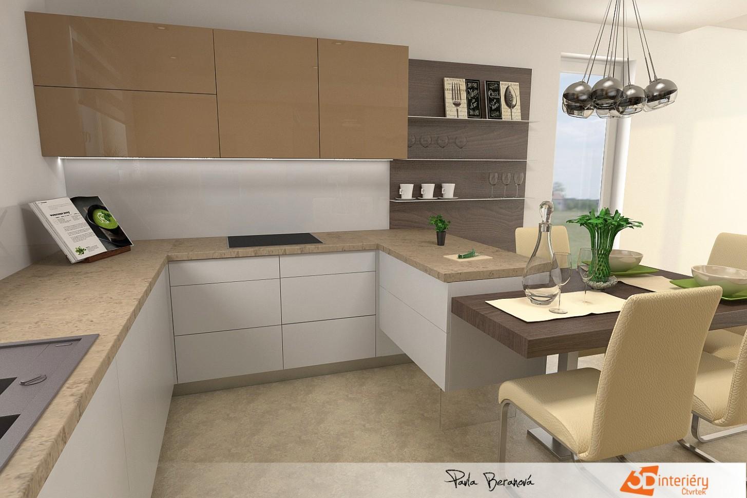 Design kuchyně - návrh - Návrhy interiérů, interierstudio8D.cz