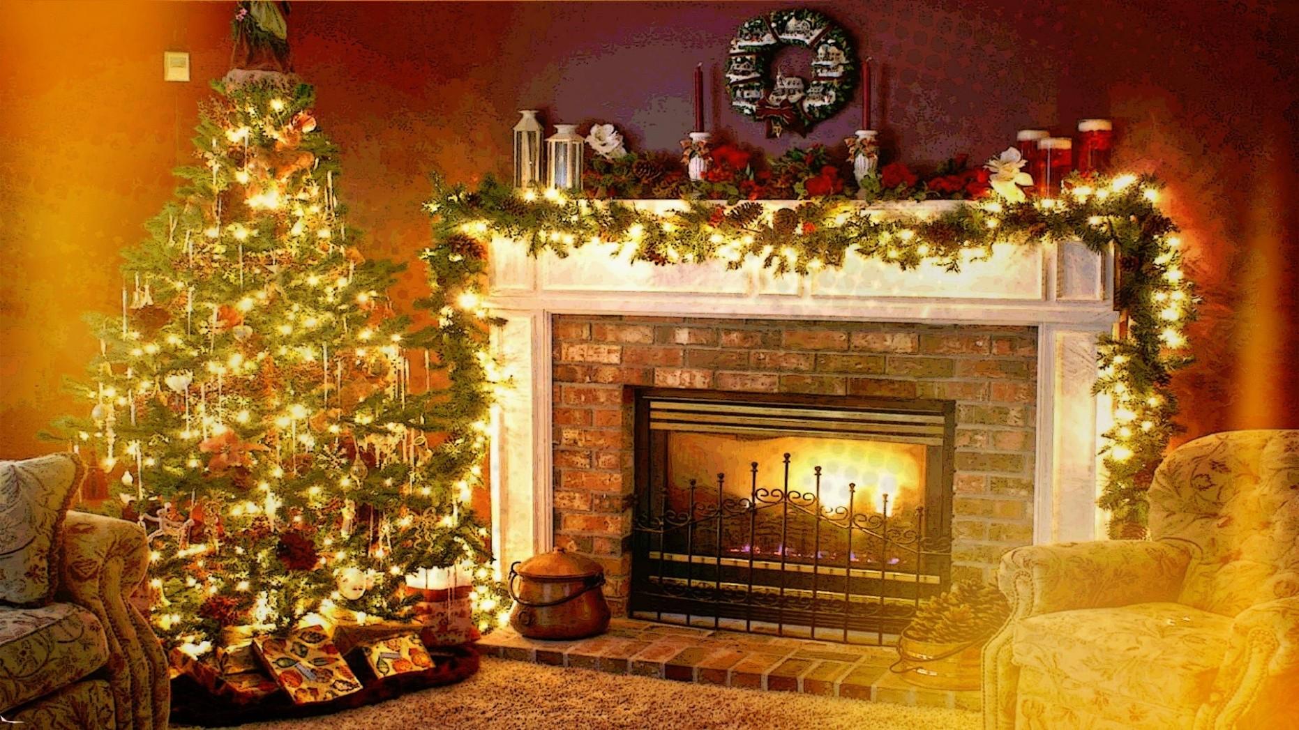 Tapety : interiér, Vánoční strom, Vánoce, krb, Dovolená ...