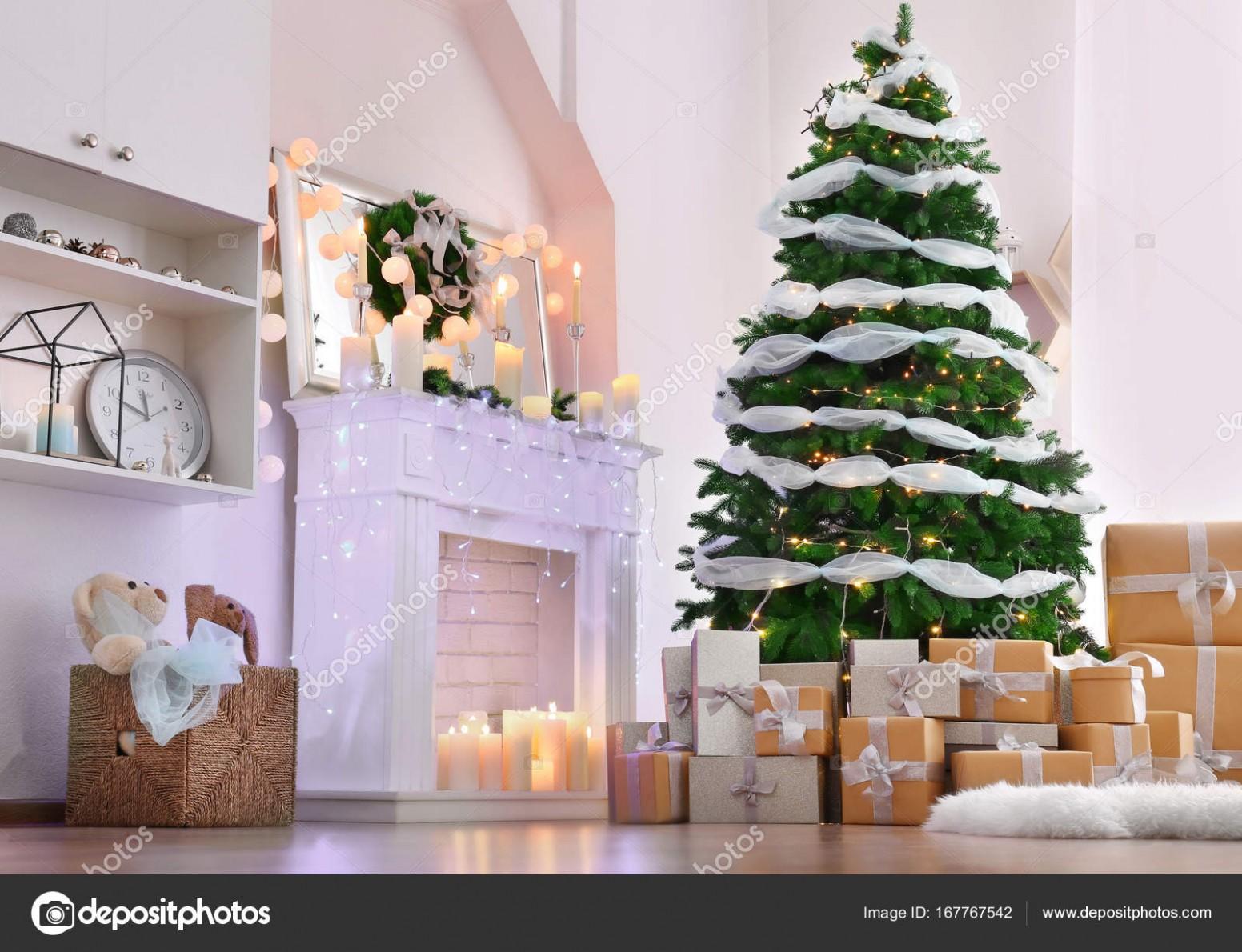 Vánoční interiér obývacího pokoje — Stock Fotografie ...