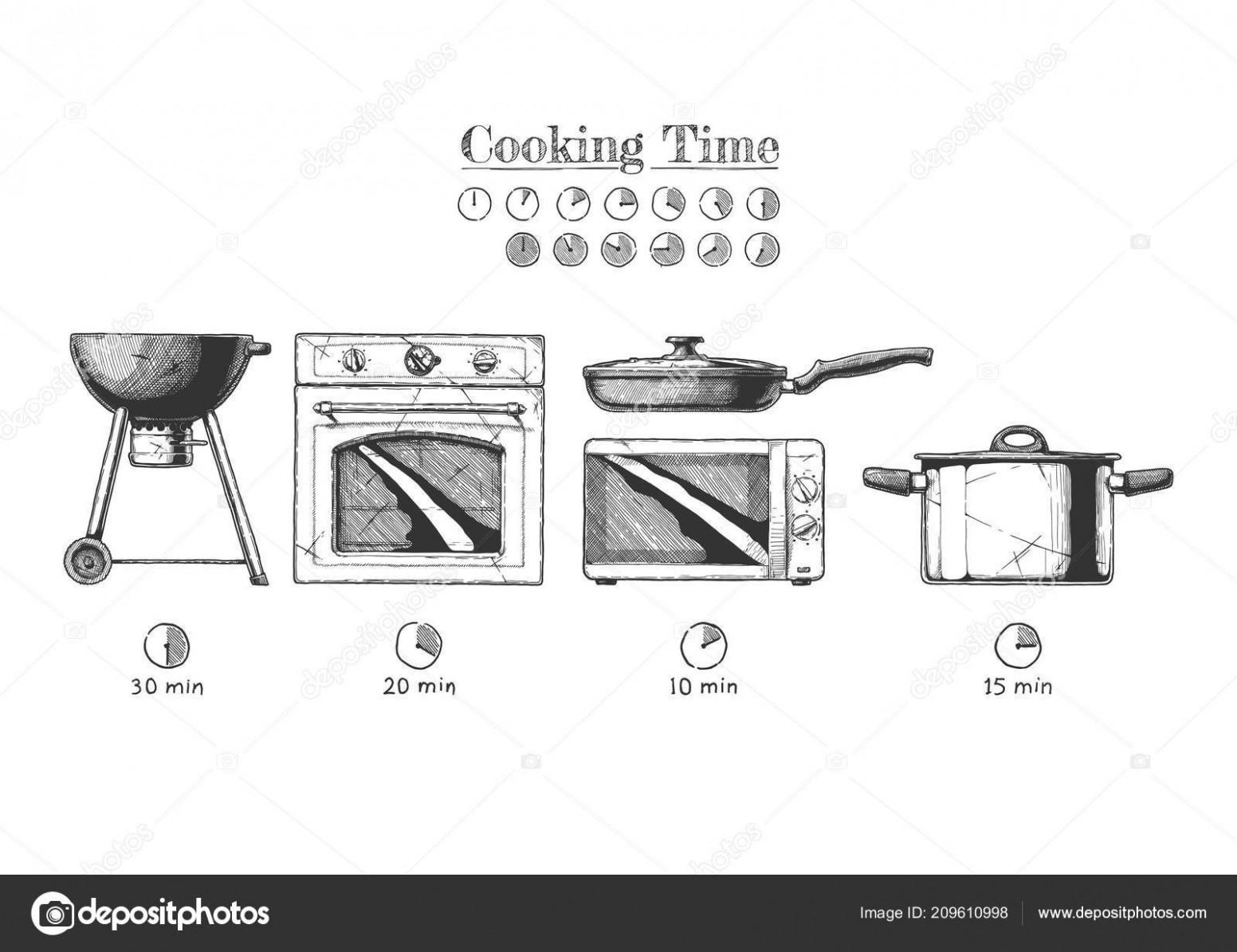 Vektorové Ilustrace Množiny Zařízení Kuchyně Vaření ...