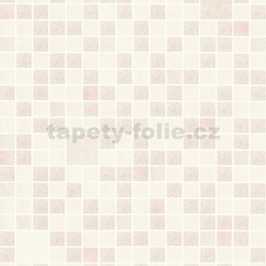 Omyvatelné vinylové tapety na zeď Bravo 30D mozaika růžovo-krémová