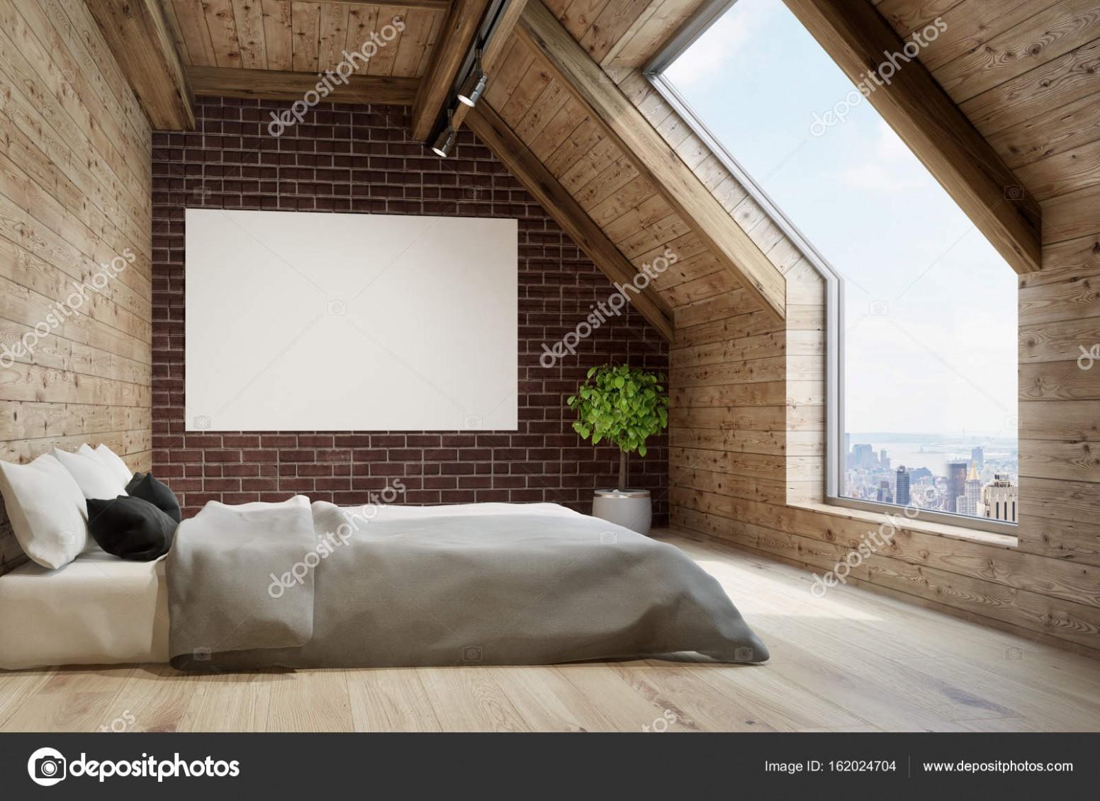 Podkrovní ložnice, šedé povlečení, plakát — Stock Fotografie ...