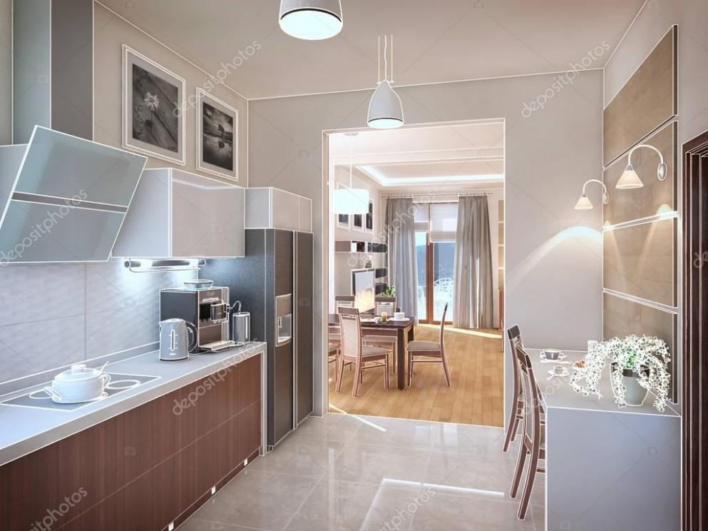 Interiér kuchyně. 3D obrázek, vykreslení — Stock Fotografie © Wassiliy #147166887