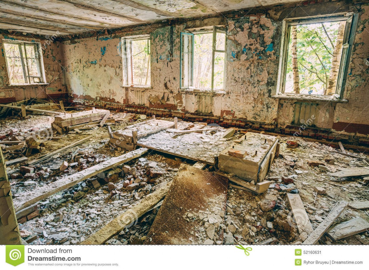 Dilapidated Passage In School Of Pripyat Stock Image - Image of exploration, inside: 52160631