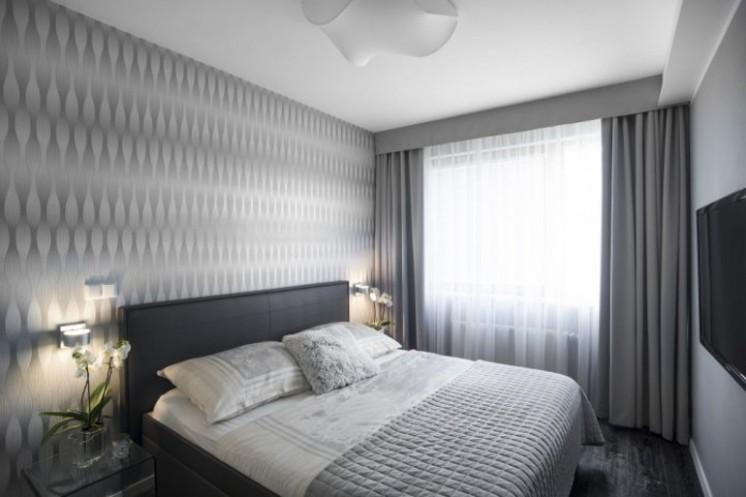 Návrh interiéru bytu - ložnice s tapetou