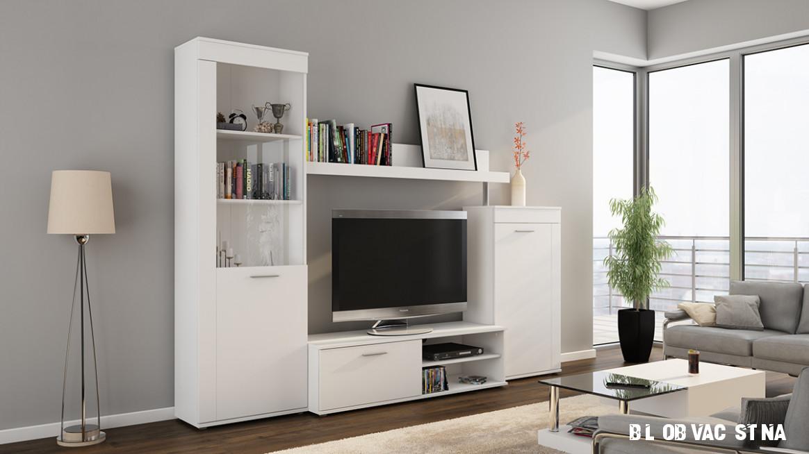 Bílá obývací stěna